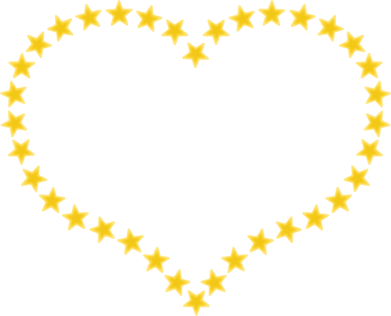 Heart Shaped Border with Yellow Stars by pixabella - A cute heart shaped border with yellow stars