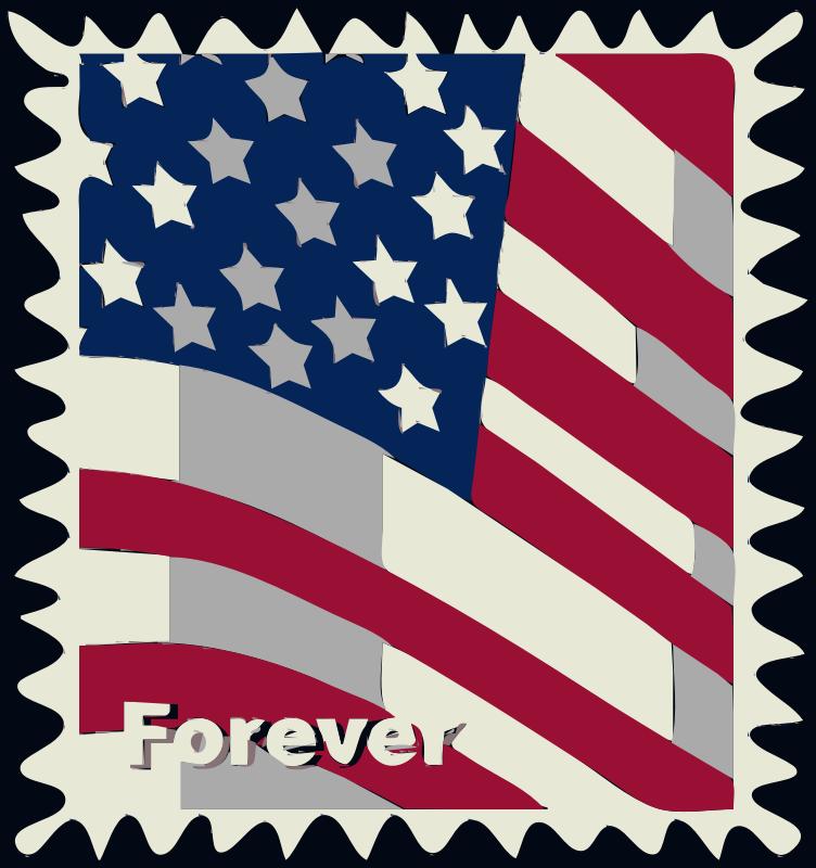 Clipart - postal service stamp USA Flag
