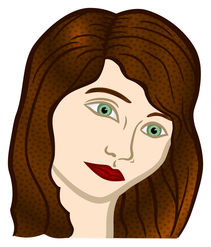 Clipart Woman Face Coloured