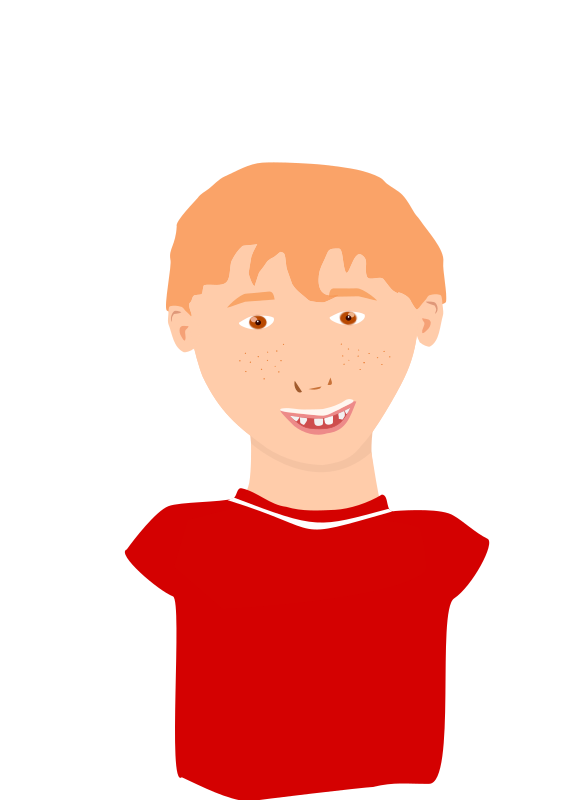 Clipart - Red-hair boy smiling