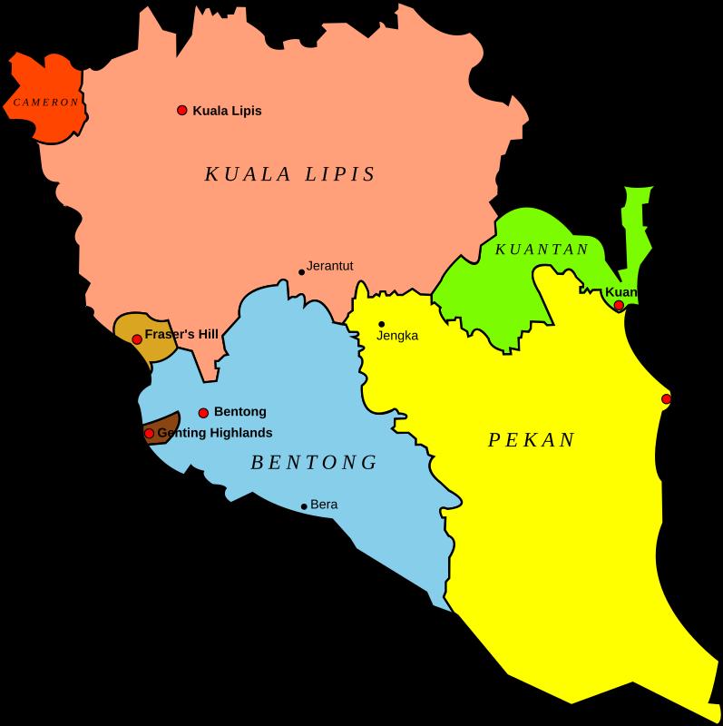 Clipart - Map of Pahang, Malaysia
