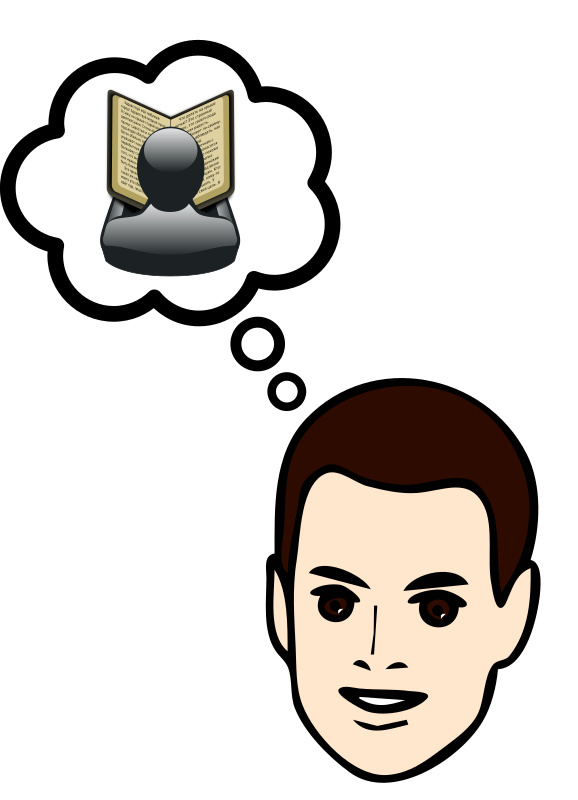 Clipart - Thinking about reading