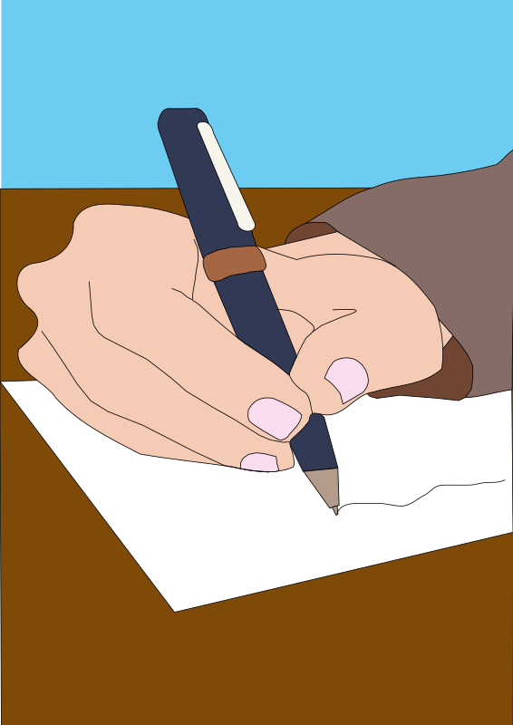 Writing by Machovka - drawing of a hand holding a pen and writing