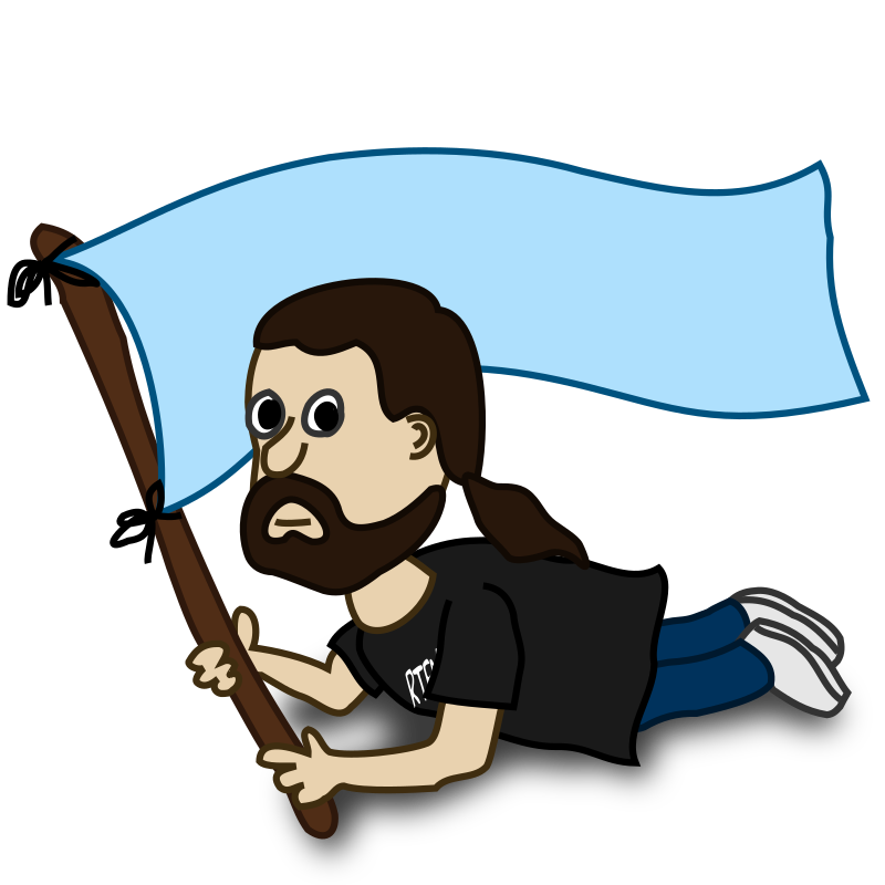 Comic characters: Flag by nicubunu - Comic characters: bearded waving a flag