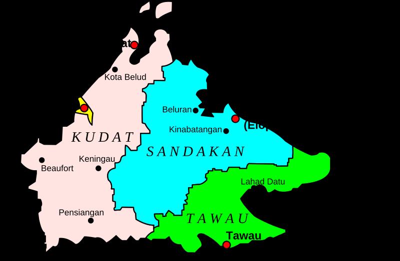 Clipart - Map of Sabah, Malaysia