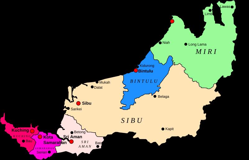 Clipart - Map of Sarawak, Malaysia