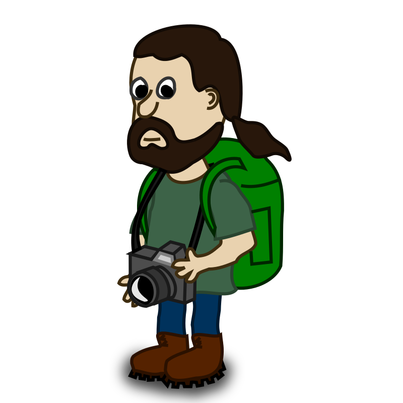 Comic characters: Trekker by nicubunu - Comic characters: bearded guy ready for trekking