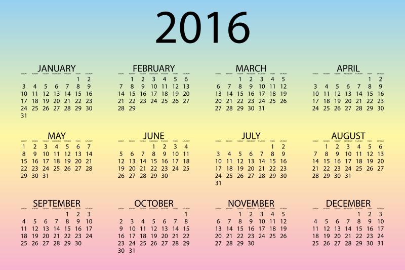 Clipart - 2016 Calendar Pastel