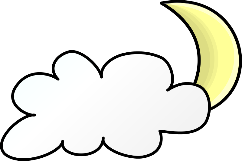 Clipart Weather Symbols Cloudy Night