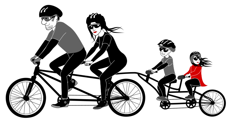 Clipart - Family riding tandem bicycle