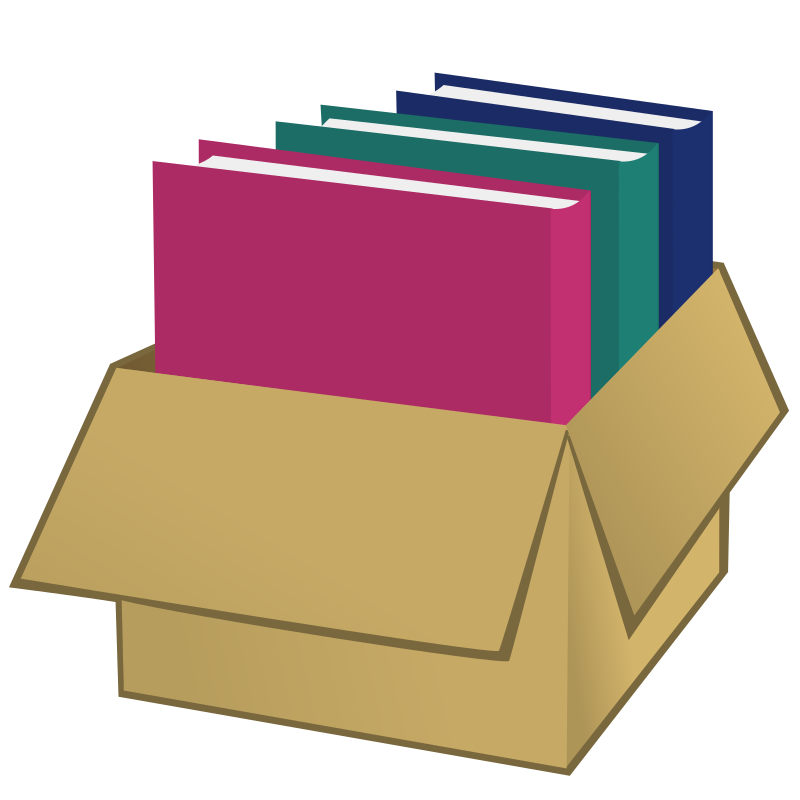 Box with folders by nicubunu - A box filled with folders
