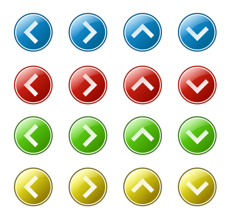 arrow_button_set by kuba - Four set of arrow buttons. In green, red, blue and yellow color.