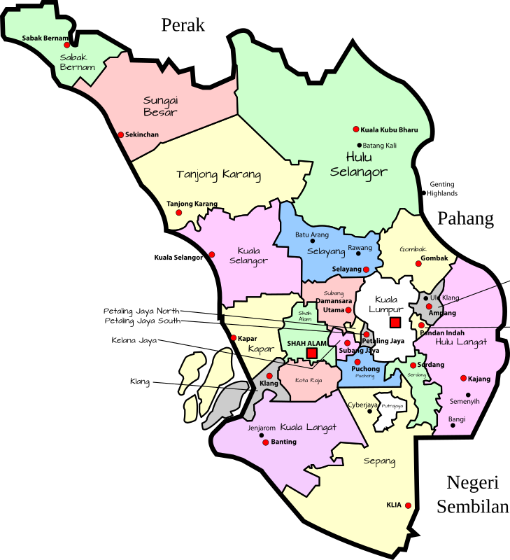 Clipart - Parliamentary map of Selangor, Malaysia