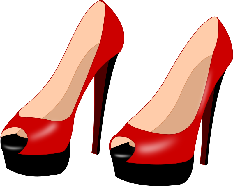 Open Heels Shoes Red