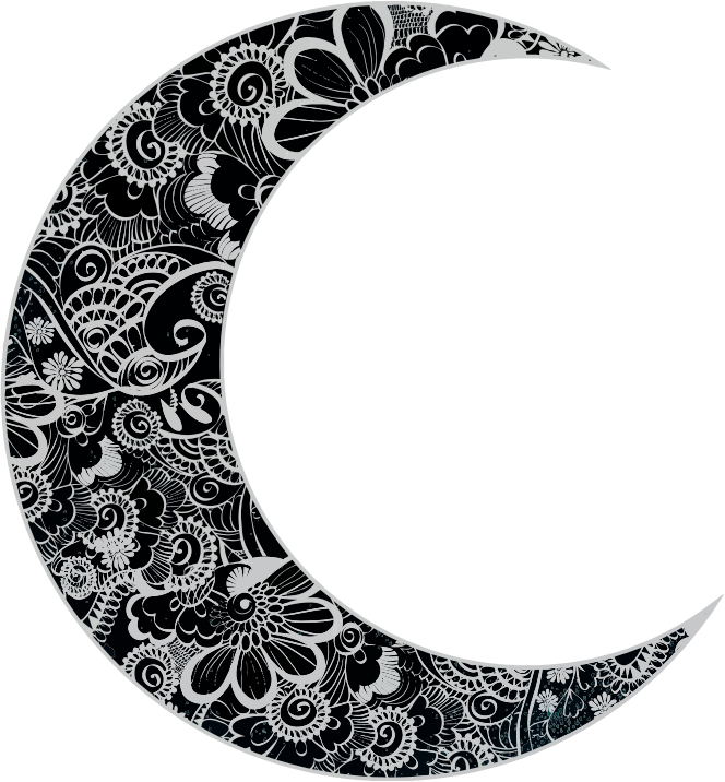 Clipart Floral Crescent Moon