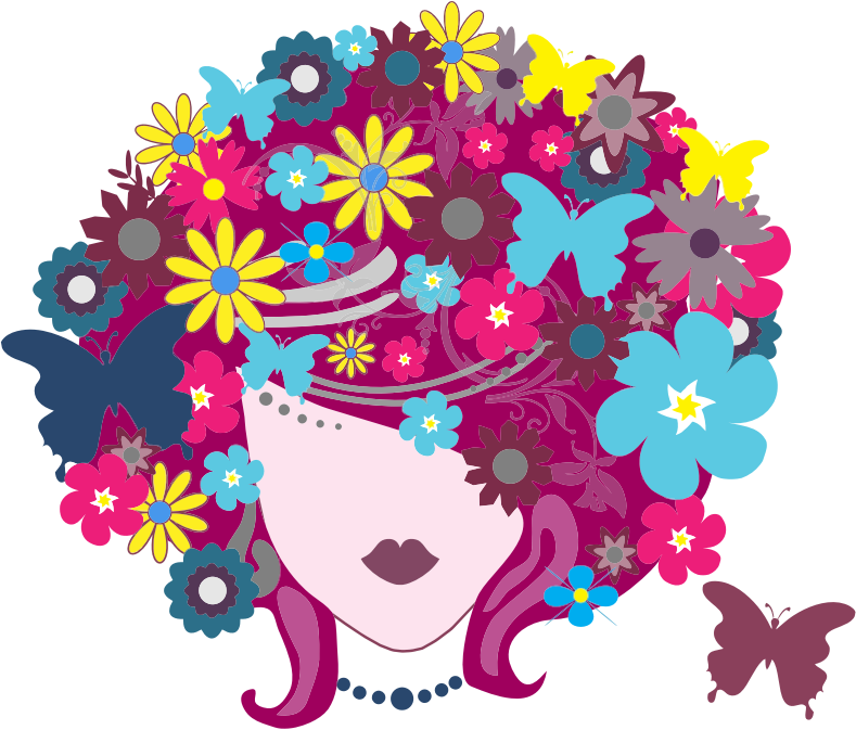 clipart floral butterfly hair woman