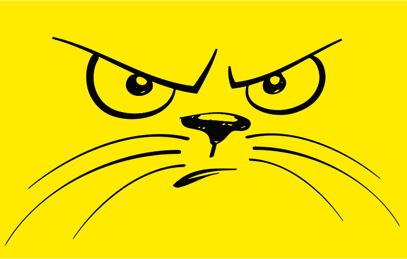 Cat Face Black And White Clipart