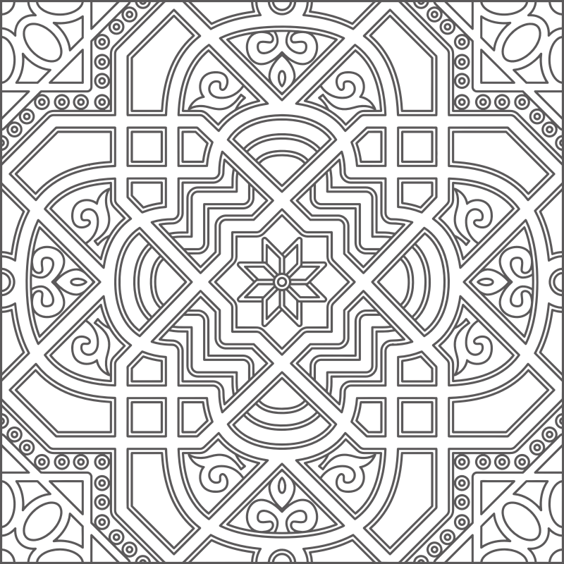 Geometric Line Design Patterns : Clipart black and white geometric line art