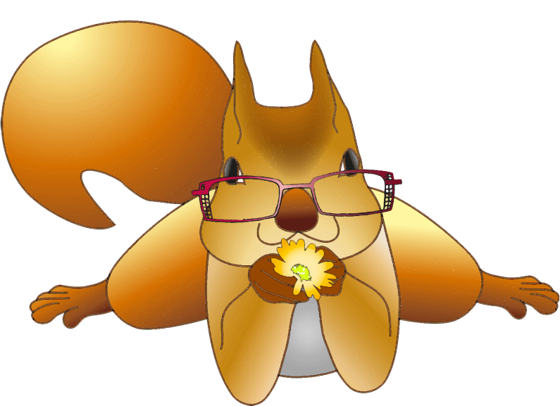 Clipart - Sight Impaired Squirrel Offering A Flower