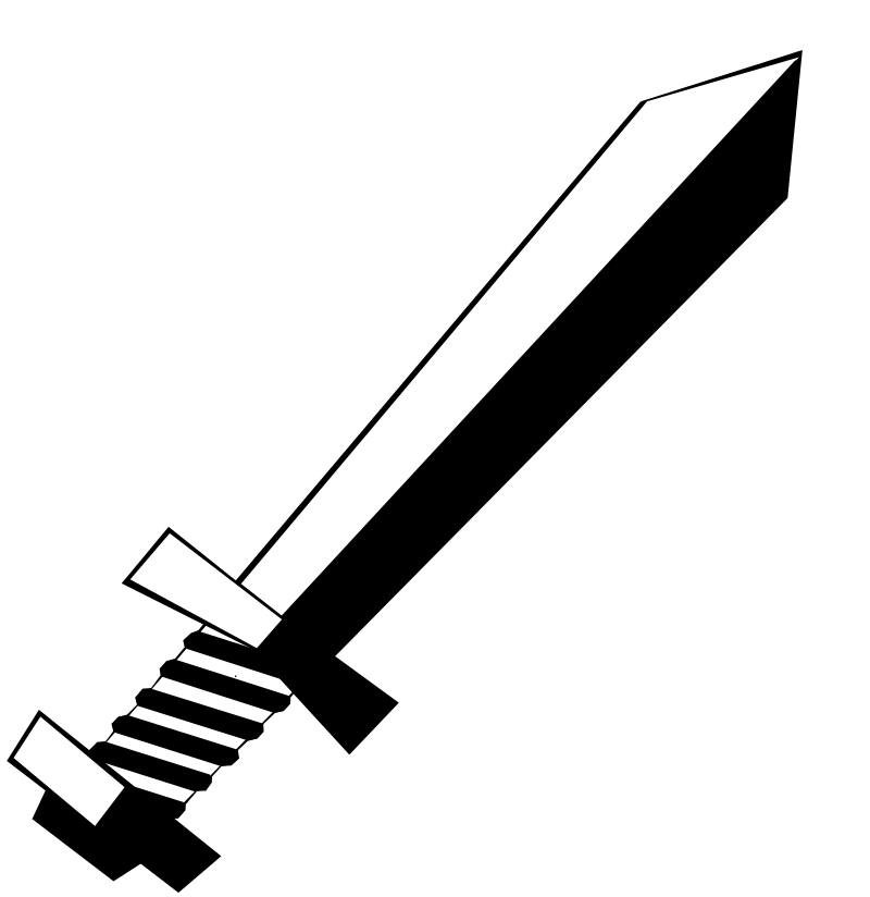 Clipart - Toy Sword (Black and White)