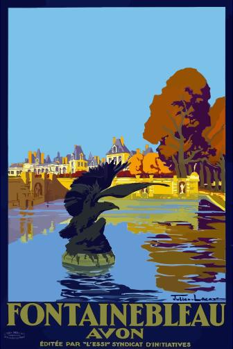 Clipart Vintage Travel Poster Fontainebleau Paris France