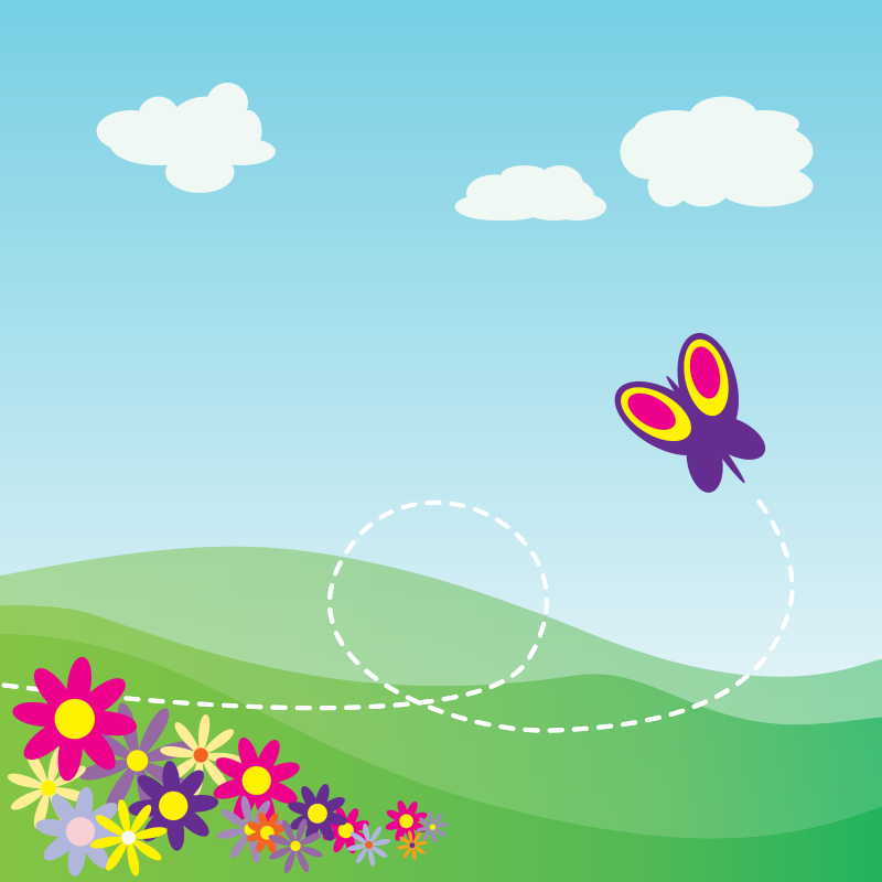 Cartoon Hillside with Butterfly and Flowers by StudioFibonacci - Cartoon butterfly flying over a flowered hillside. Based on tutorial: http://www.blog.spoongraphics.co.uk/tutorials/illustrator-tutorial-create-a-blissful-vector-scene