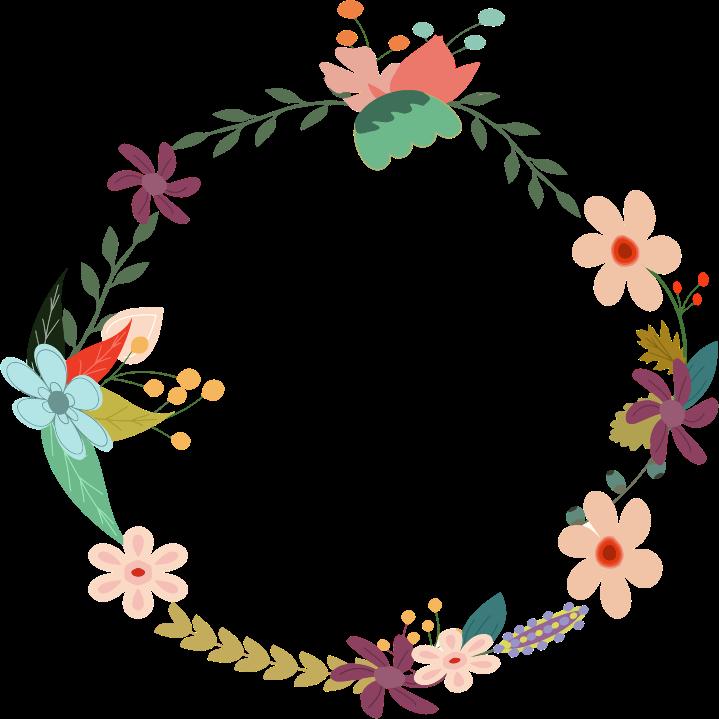 Clipart - Vintage Floral Wreath