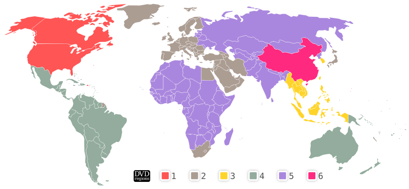DVD regions by molumen - A map of the world showing existing DVD regions.