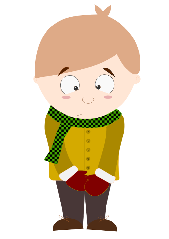 Clipart - Cartoon shy kid (Animation 2)