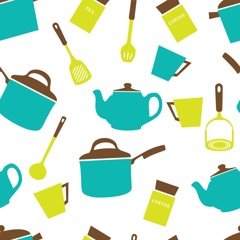 Clipart - Kitchen Utensils Crockery Wallpaper