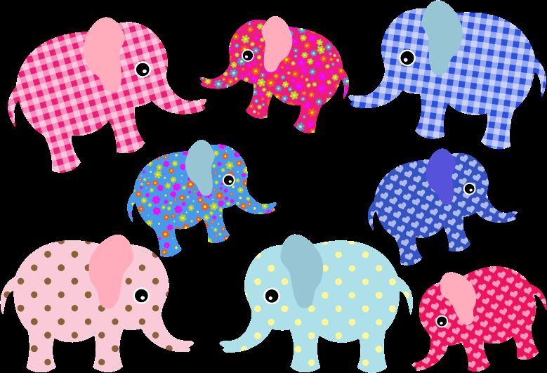 Clipart  Colorful Retro Elephants