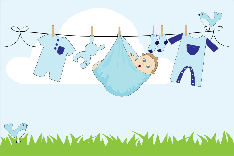 Clipart baby boy hanging on clothesline outside for Baby clothesline decoration baby shower