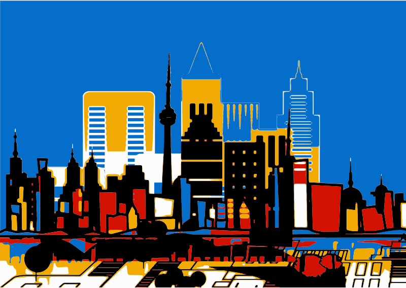 Clipart Abstract Colorful Architecture City Skyline