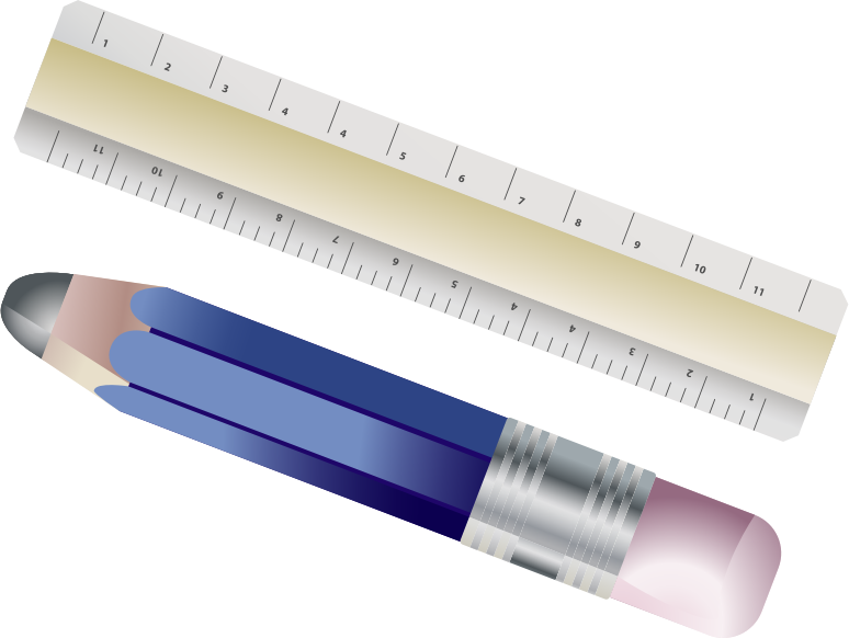 Clipart - Ruler And Pencil