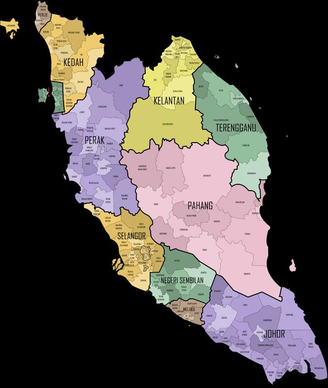 Clipart - Malaysian Parliament Constituencies, 2015 (Peninsular ...