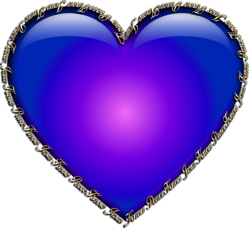 Clipart know jesus know peace heart blue for Clipart cuore