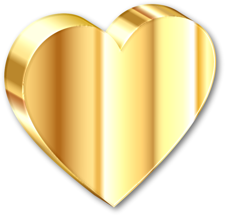 Clipart - 3D Heart Of Gold With Shadow
