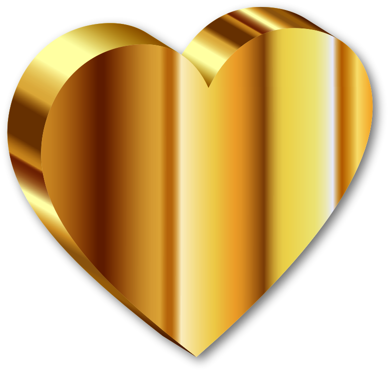 Clipart - 3D Heart Of Gold Deeper Color With Shadow