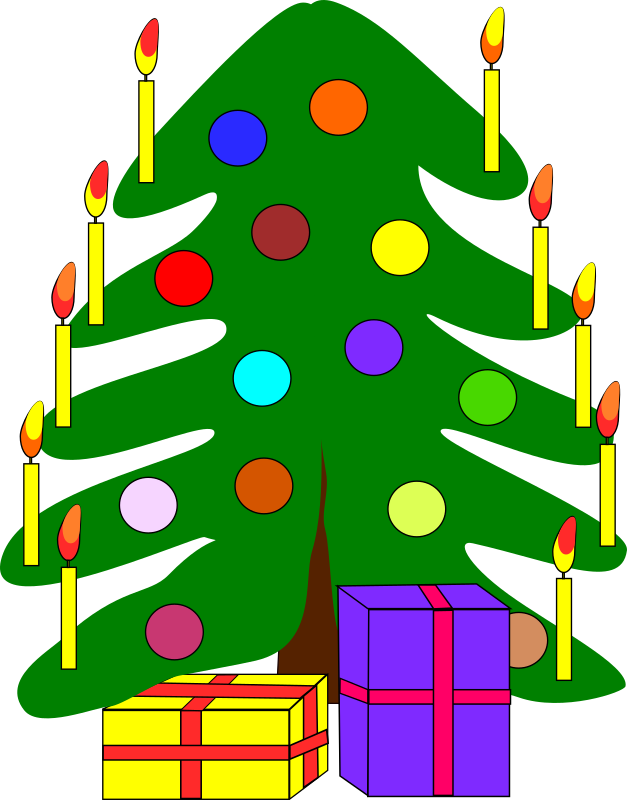 Christmas tree by Machovka - Brightly colored cartoon-style christmas tree with some gifts underneath. Decorated with glass baubles and candles.