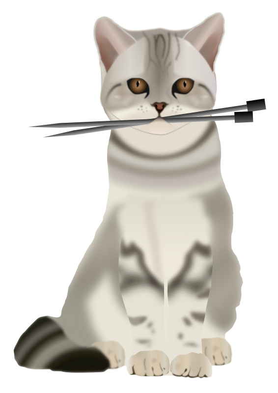 Person Knitting Clipart : Clipart cat with knitting needles