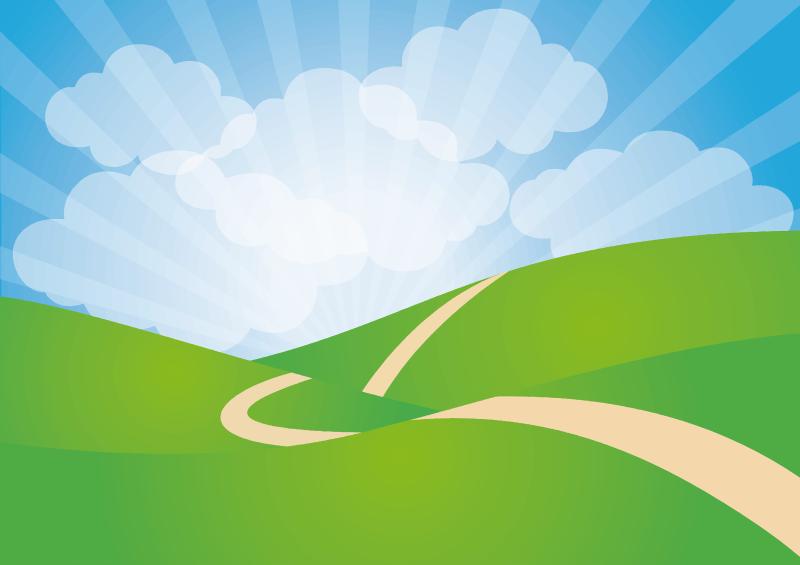 Clipart - Green Rolling Hills Landscape