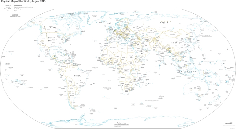 Clipart CIA World Fact Book Physical World Map - Physical world map svg