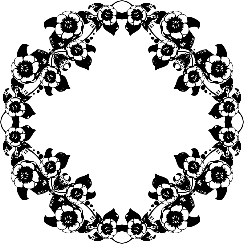 Clipart Vintage Black And White Floral Design