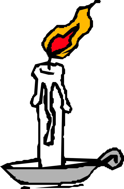 Burning candle by liftarn - A white, burning candle in holder.