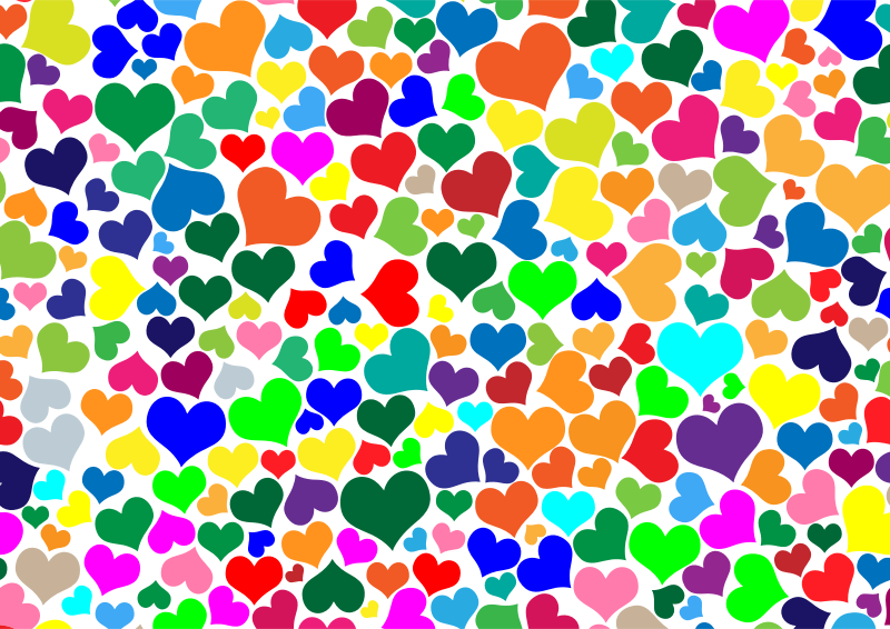 clipart colorful hearts background