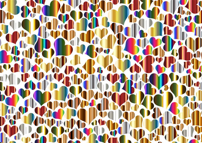 Clipart  Shiny Metallic Hearts Background 2
