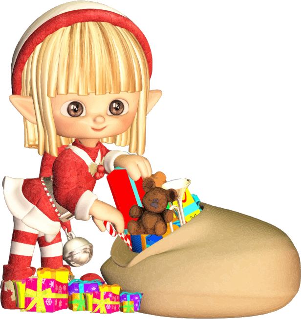 Clipart - Cartoon Elf With Christmas Gifts