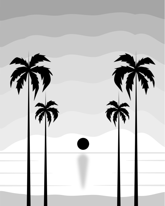 Clipart - Black And White Tropical Sunset