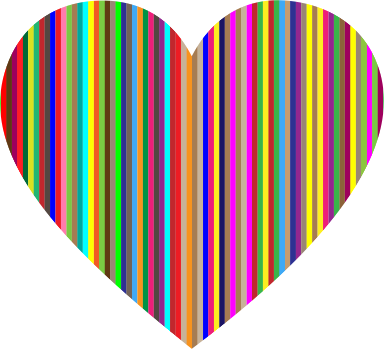 Clipart - Colorful Vertical Striped Heart: https://openclipart.org/detail/228862/colorful-vertical-striped-heart