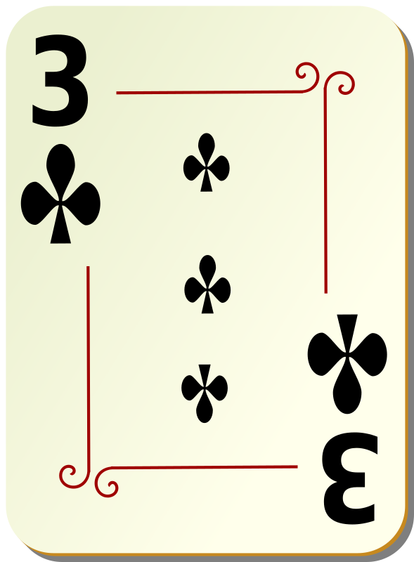 "Ornamental deck: 3 of clubs by nicubunu - playing card from the ""Ornamental"" set"